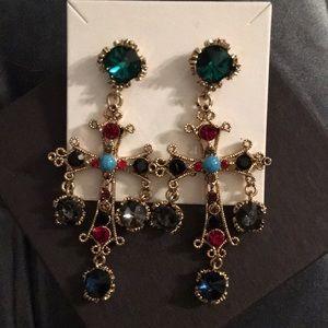 Brand new costume jeweled earrings cross Korea